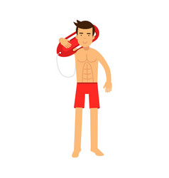 lifeguard man character on duty standing and vector image