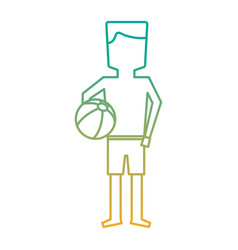 Man character standing with swimsuit and beach vector