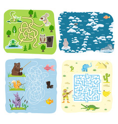 Maze game kids brain training education riddle vector