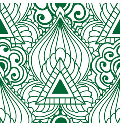 mehendi seamless pattern of green with white color vector image vector image