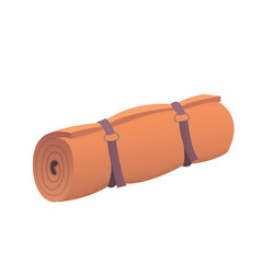 Orange camping rolled mat vector