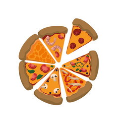Pizza slices different ingredients vector
