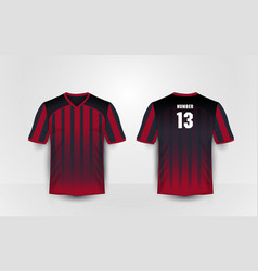 Red and black pattern sport football kits t-shirt vector