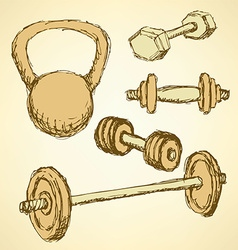 Sketch weight set in vintage style vector image