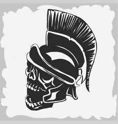 spartan warrior skull in ancient helmet vector image vector image