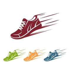 Speeding running shoe icons vector