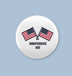 steel round badge set patriotic brooch 4th of vector image vector image