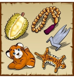Tiger set beads and exotic items five images vector