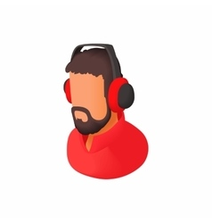 Male commentator in headphones icon cartoon style vector