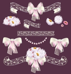 Wedding frame and ribbon set vector