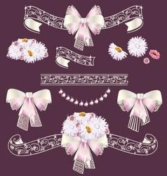 Wedding frame and ribbon set vector