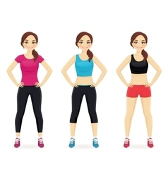 Set of young woman in different sportswear vector