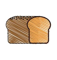 Color drawing pencil cartoon long bread food vector