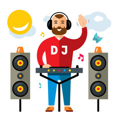 dj flat style colorful cartoon vector image