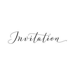 Invitation word hand written custom calligraphy vector