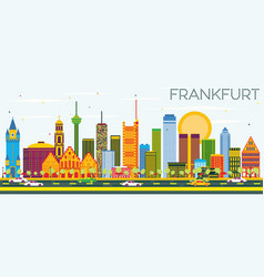 Frankfurt skyline with color buildings and blue vector