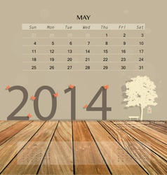 2014 calendar monthly calendar template for May vector image vector image