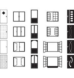 Door and window silhouettes vector