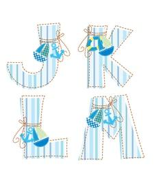 Fabric patchwork alhabet Letter J K L M vector image