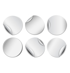 Set of white round promotional stickers vector