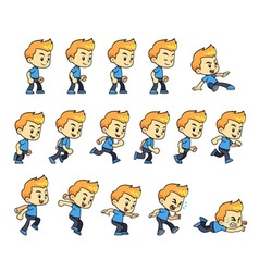 Blue shirt boy game sprites vector