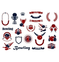 Bowling game items and heraldic elements vector