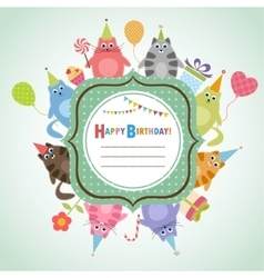 Birthday frame with cats vector image