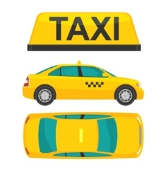 Taxi car view top and side flat styled vector
