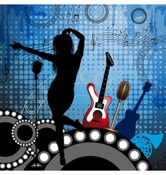 Band gigging background with instruments vector