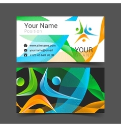 Business card template with people icon vector