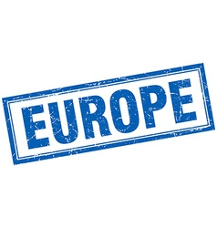 Europe blue square grunge stamp on white vector