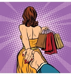 Follow me young woman leads a man shopping vector