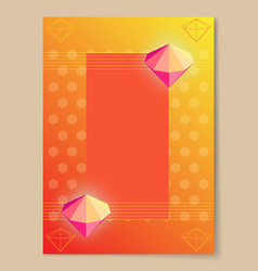 Abstract poster with bright luminous pink diamons vector