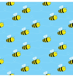 Bees seamless pattern vector image vector image
