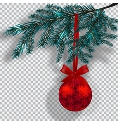 Blue christmas tree branches on a checker vector