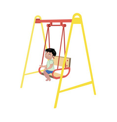 boy on swing on white background vector image vector image