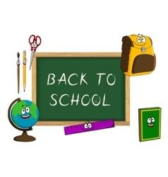 Cartoon school supplies with blackboard vector