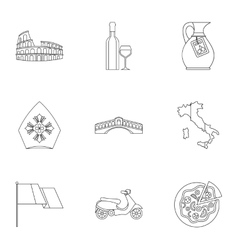 Country italy icons set outline style vector