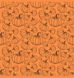 different pumpkin sizes on an orange background vector image vector image