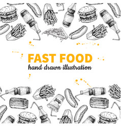 Fast food hand drawn frame hand drawn junk vector
