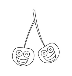 Figure kawaii happy cherrys icon vector