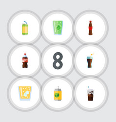 Flat icon drink set of lemonade carbonated vector