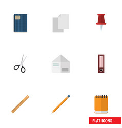 Flat icon tool set of notepaper letter clippers vector