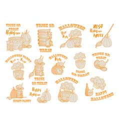 Halloween witch accessories doodle set vector