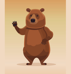 Happy kind friendly bear character welcomes vector