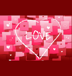 happy valentines heart and love on stick note vector image vector image