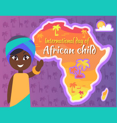 international african child day postcard with gril vector image vector image