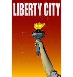 Liberty lady monument hand vector image