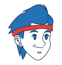 Man cartoon with blue hair face portrait sport guy vector