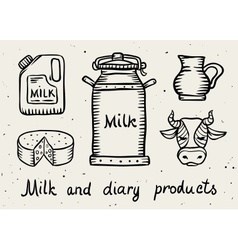 Milk and dairy products vector image vector image